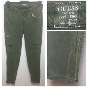 GUESS Cargo Pant w/ Pockets & Zippers, Dusty Olive